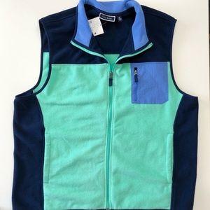 Club Room Navy and Mint Green Fleece Zip Up Vest